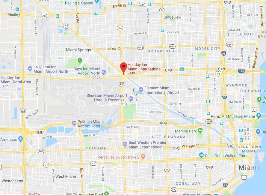 Miami Springs Florida Map.Location Holiday Inn Miami International Airport